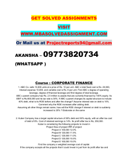 CORPORATE FINANCE PGDFM NMIMS