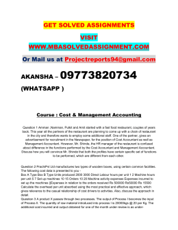 Cost & Management Accounting Nmims Pgdfm