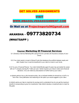 Marketing Of Financial Services Nmims Assignment