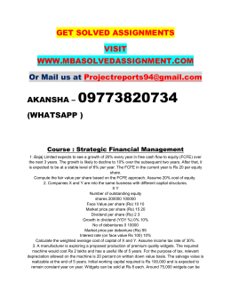 Strategic Financial Management PGDSCM