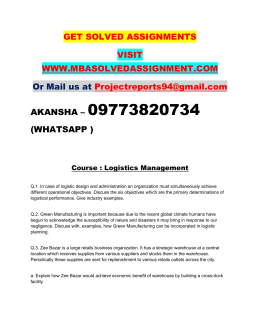 Logistics Management Nmims Assignment