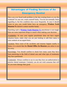 Advantages of Finding Services of An Emergency Dentist