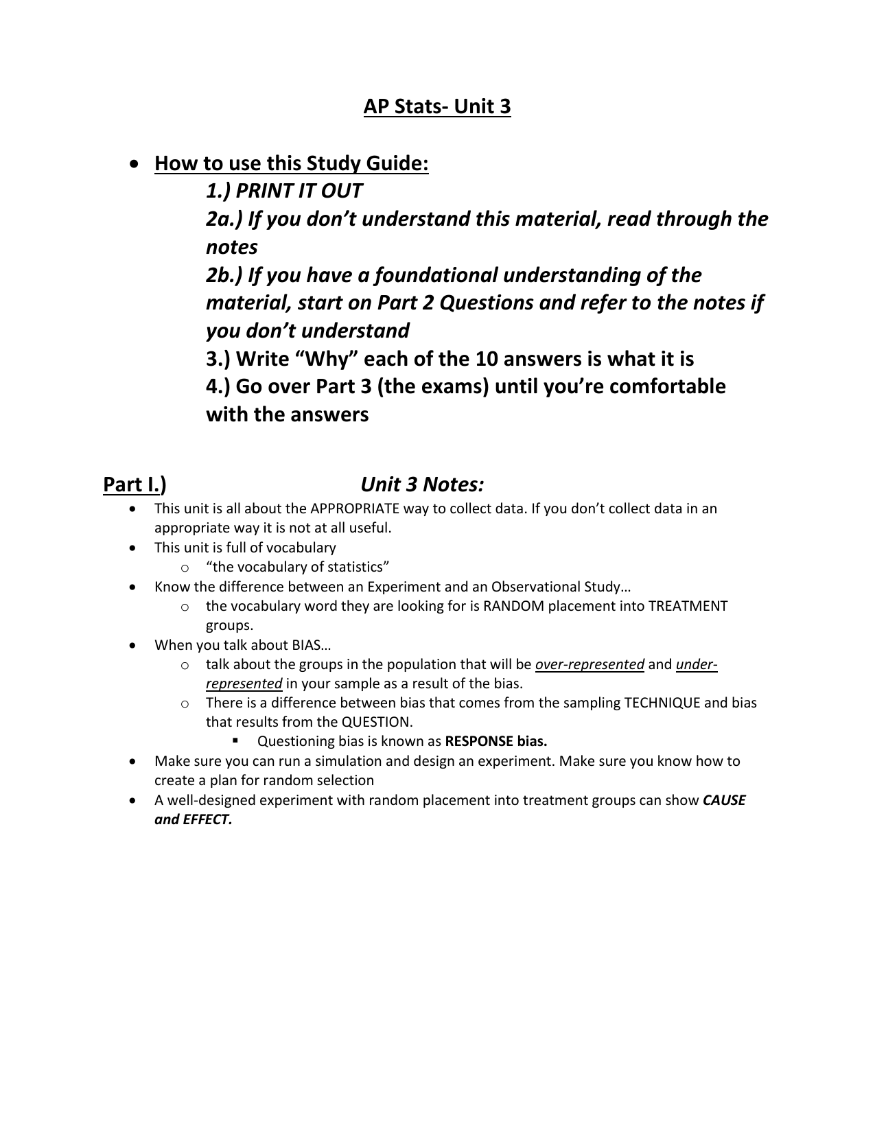 ap statistics unit 3 test answer key