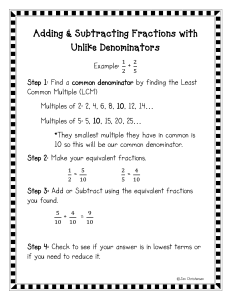ding & Subtracting Fractions with Unlike Denominators Notes