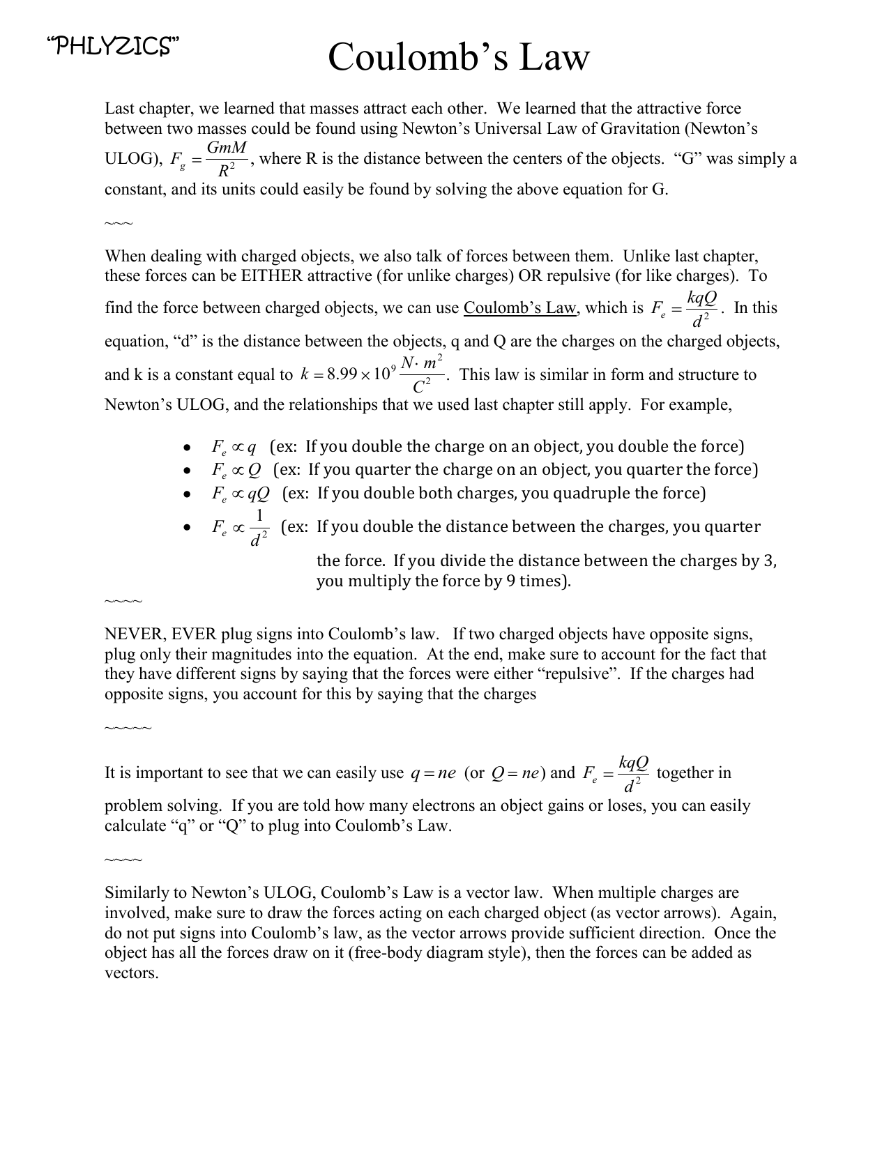 D4and5 Coulombs Law Worksheet with reading assignment attached