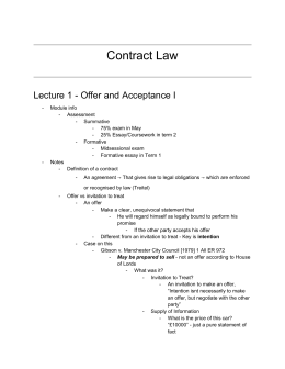 Contract Law Sem 1 Notes