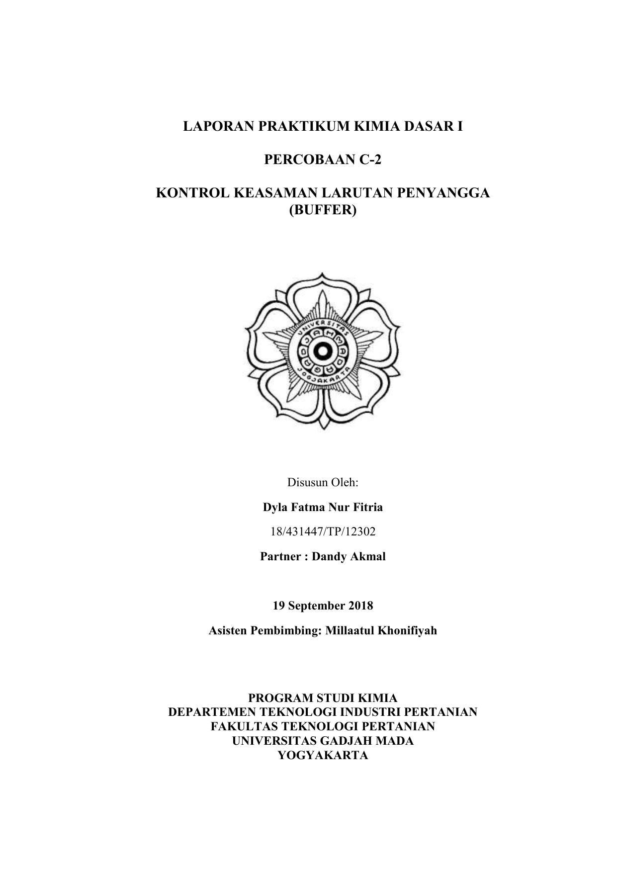 Format Laporan Kimia Dasar I