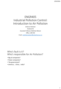 Introduction to air pollution controls