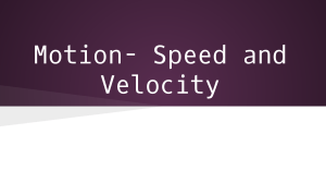 Motion- Speed and Velocity