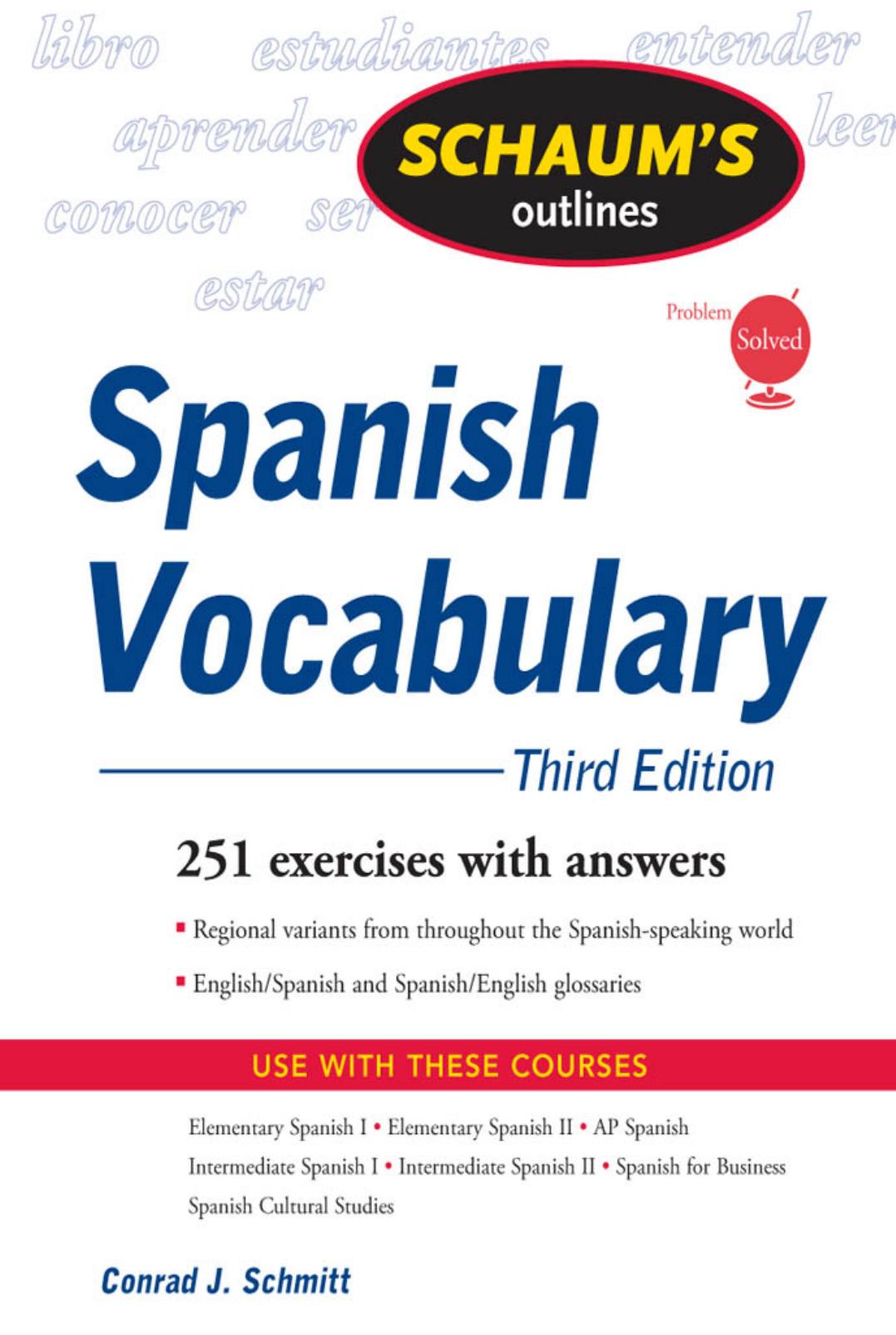 spanish-vocabulary schaum's outlines