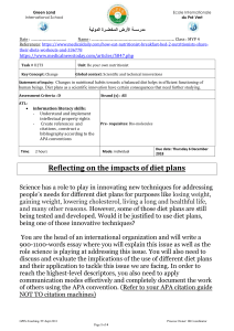 MYP4 Criterion D (Reflecting on the impacts of diet plans)