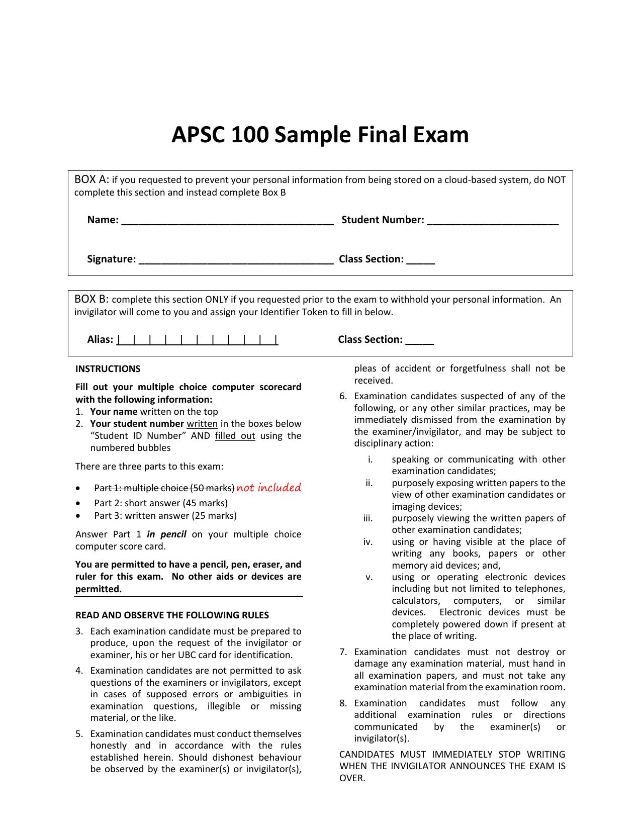 UBC - APSC 100 Sample Final Exam - Winter 2018