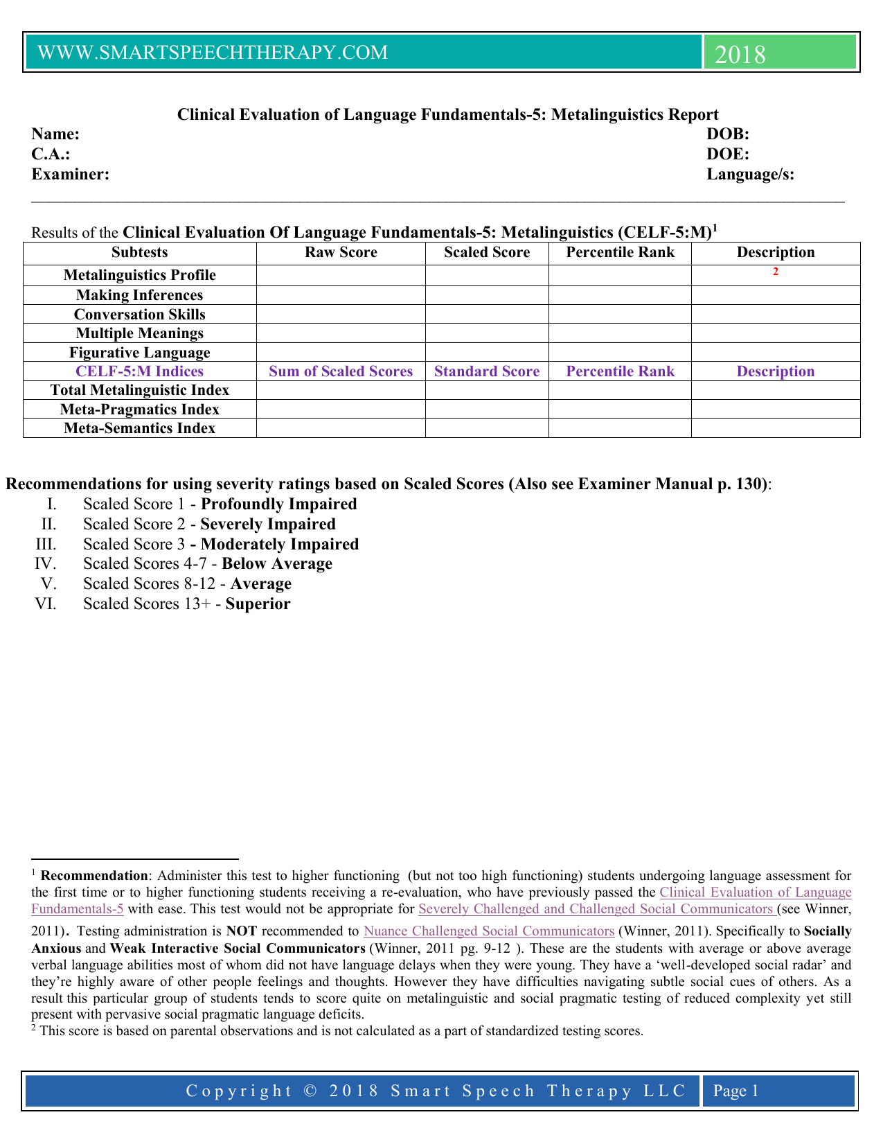 CELF 21 Report Template In Speech And Language Report Template