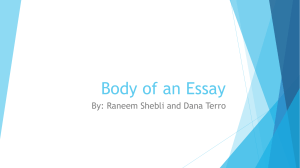 Body of An Essay