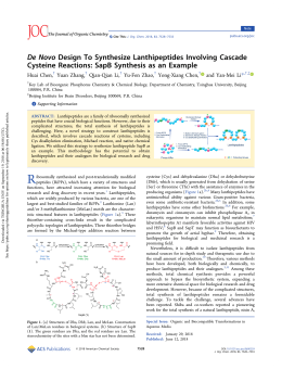 De Novo Design To Synthesize Lanthipeptides Involving Cascade Cysteine Reactions: SapB Synthesis as an Example