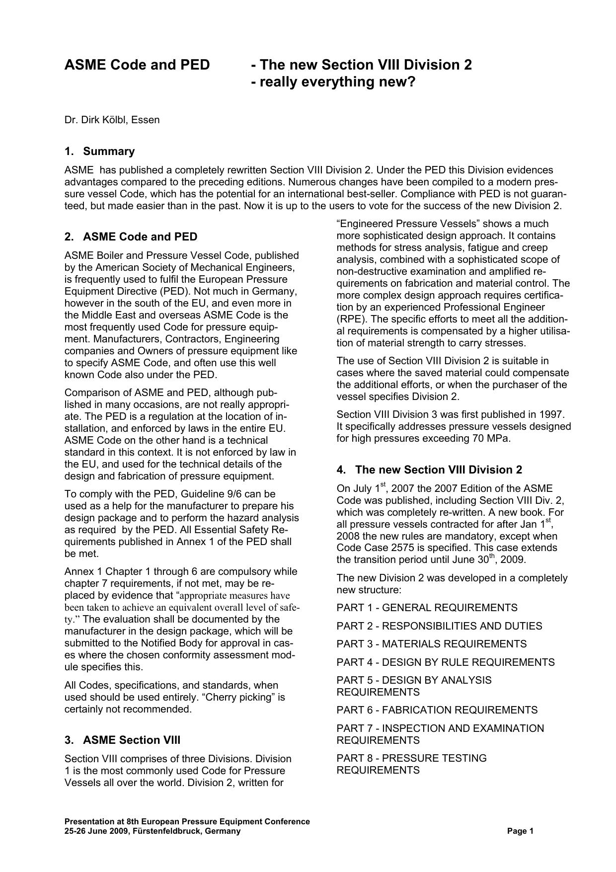 Koelbl New ASME VIII 2 PED 2009
