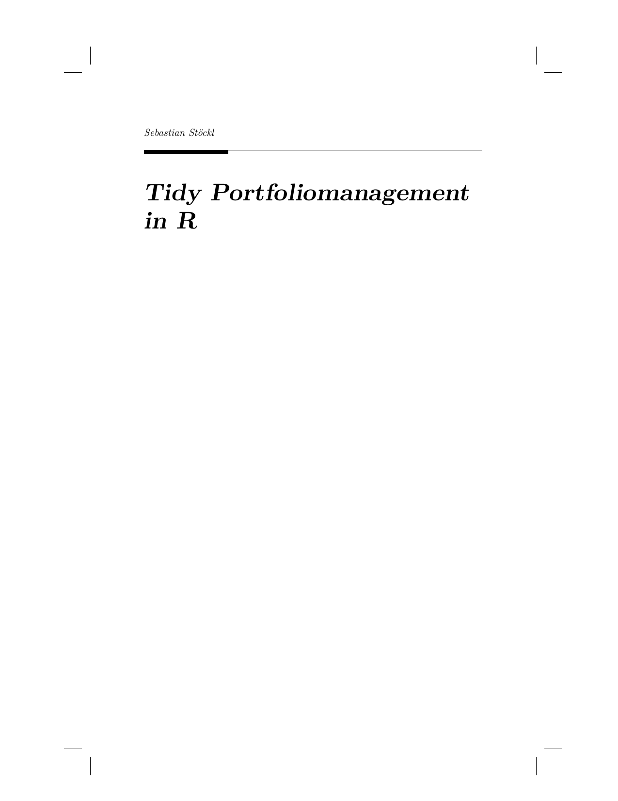 Tidy Portfoliomanagement in R