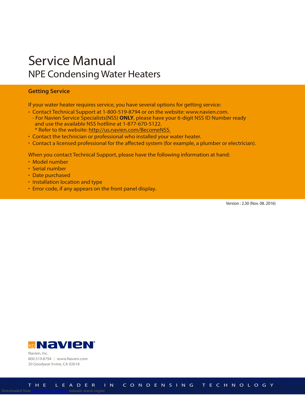 Navien NPE Service Instructions on