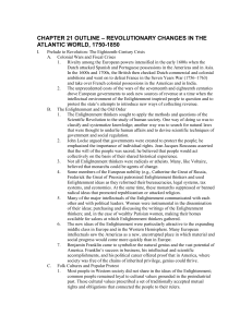 CHAPTER 21 OUTLINE  Revolutionary Changes in the Atlantic World