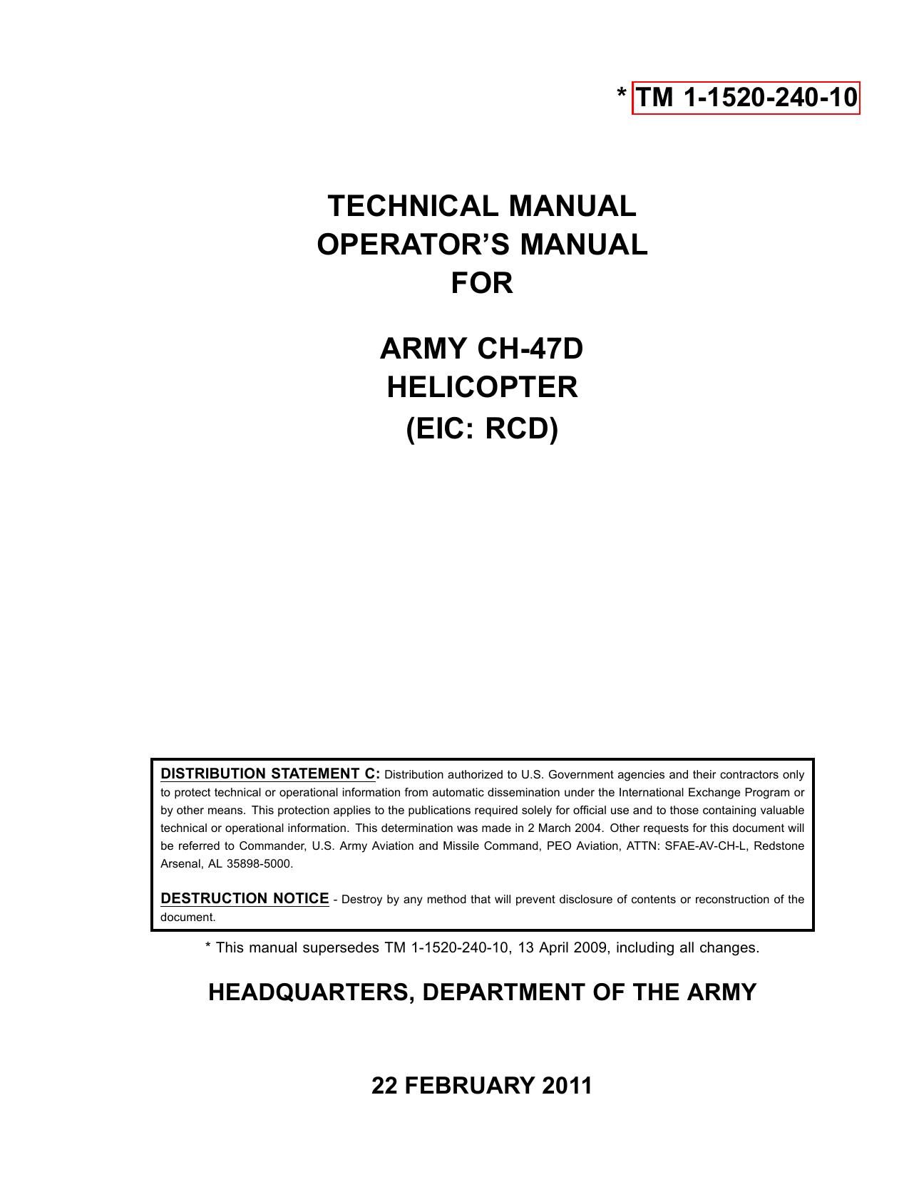 CH-47D ARMY OPERATORS MANUAL