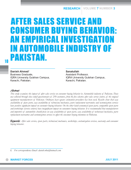 After sales service and consumer buying behavior an empirical investigation