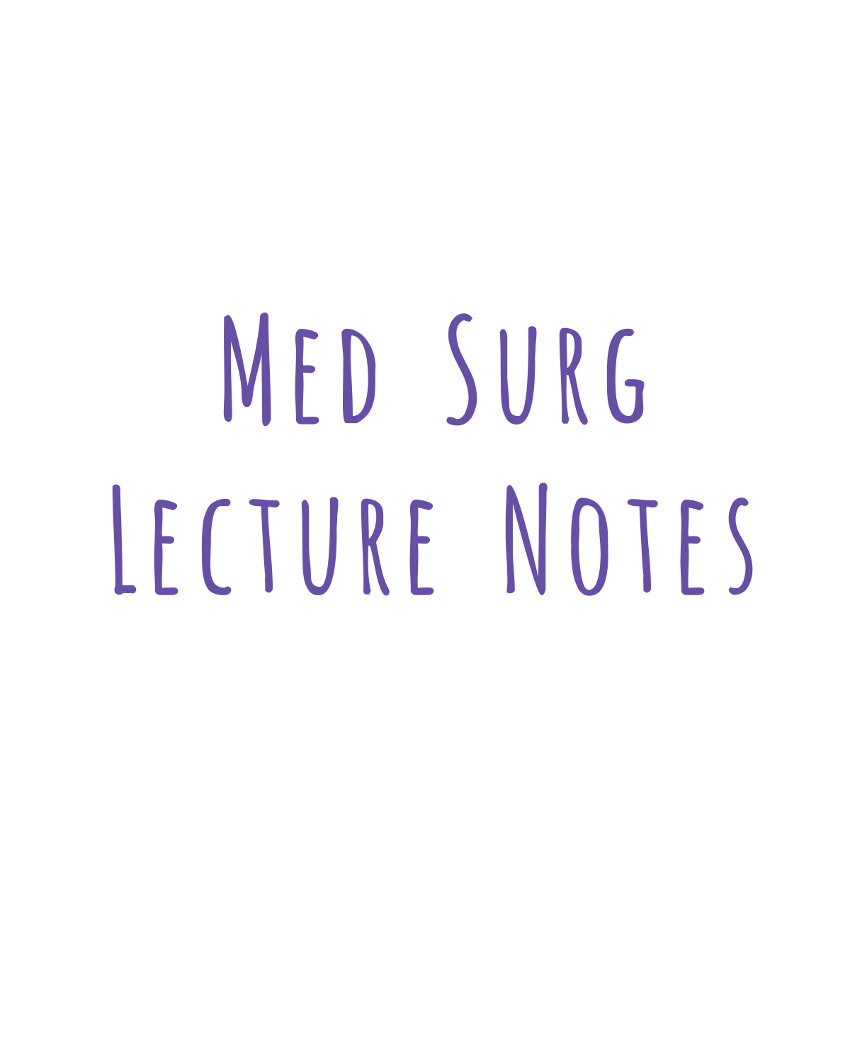 Lecture Notes outline for class