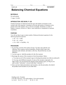 Minilab - balancing chemical equations