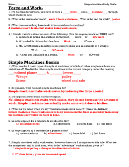 Simple Machines study guide KEY