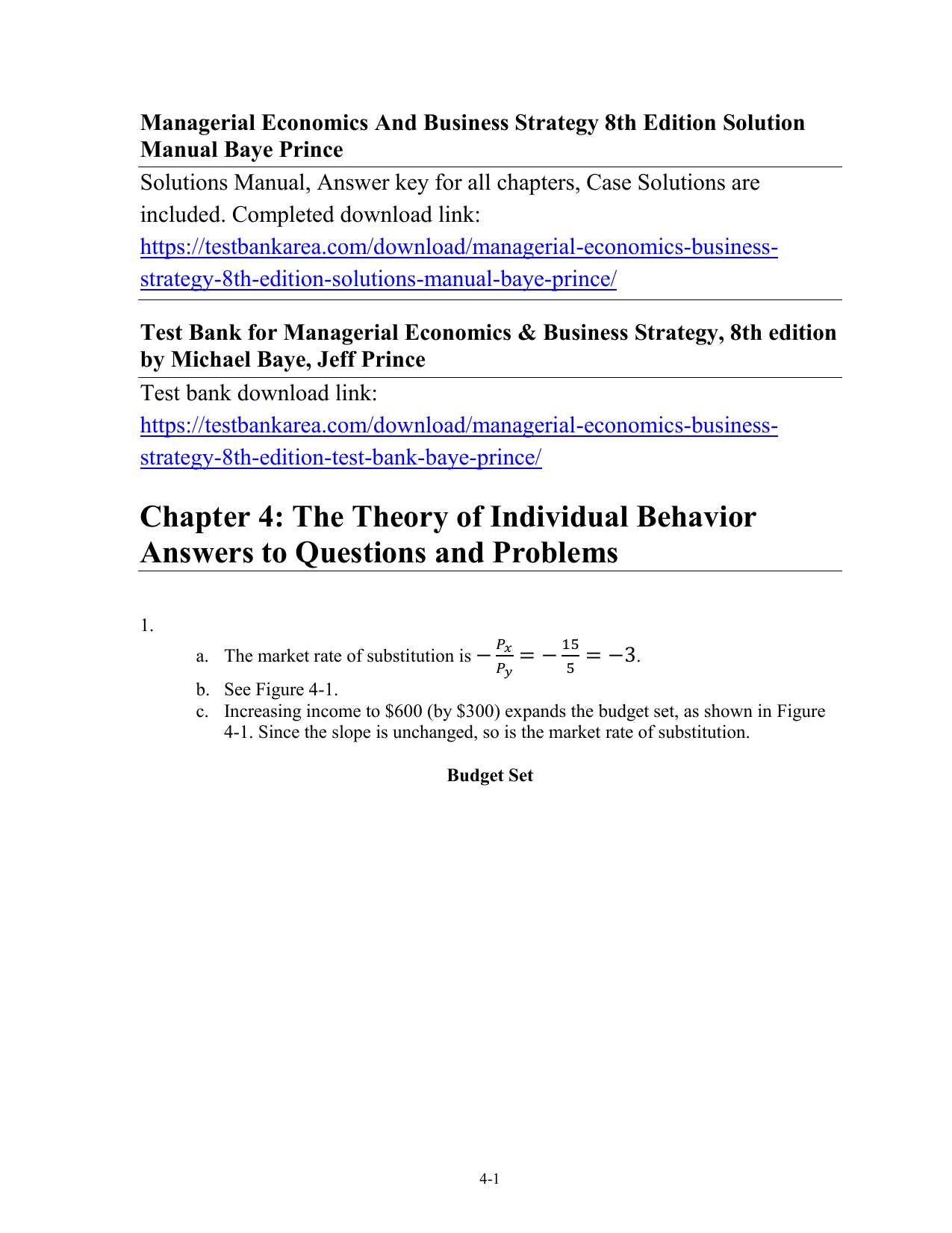 managerial economics and business strategy 8th edition solution manual pdf