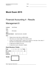 Mock Exam 2015 - results