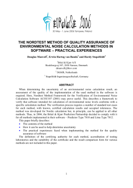 The NORDTEST Method of Quality Assurance of Environmental Noise Calculation Methods in Software - Practical Experiences 2006 - bn0175