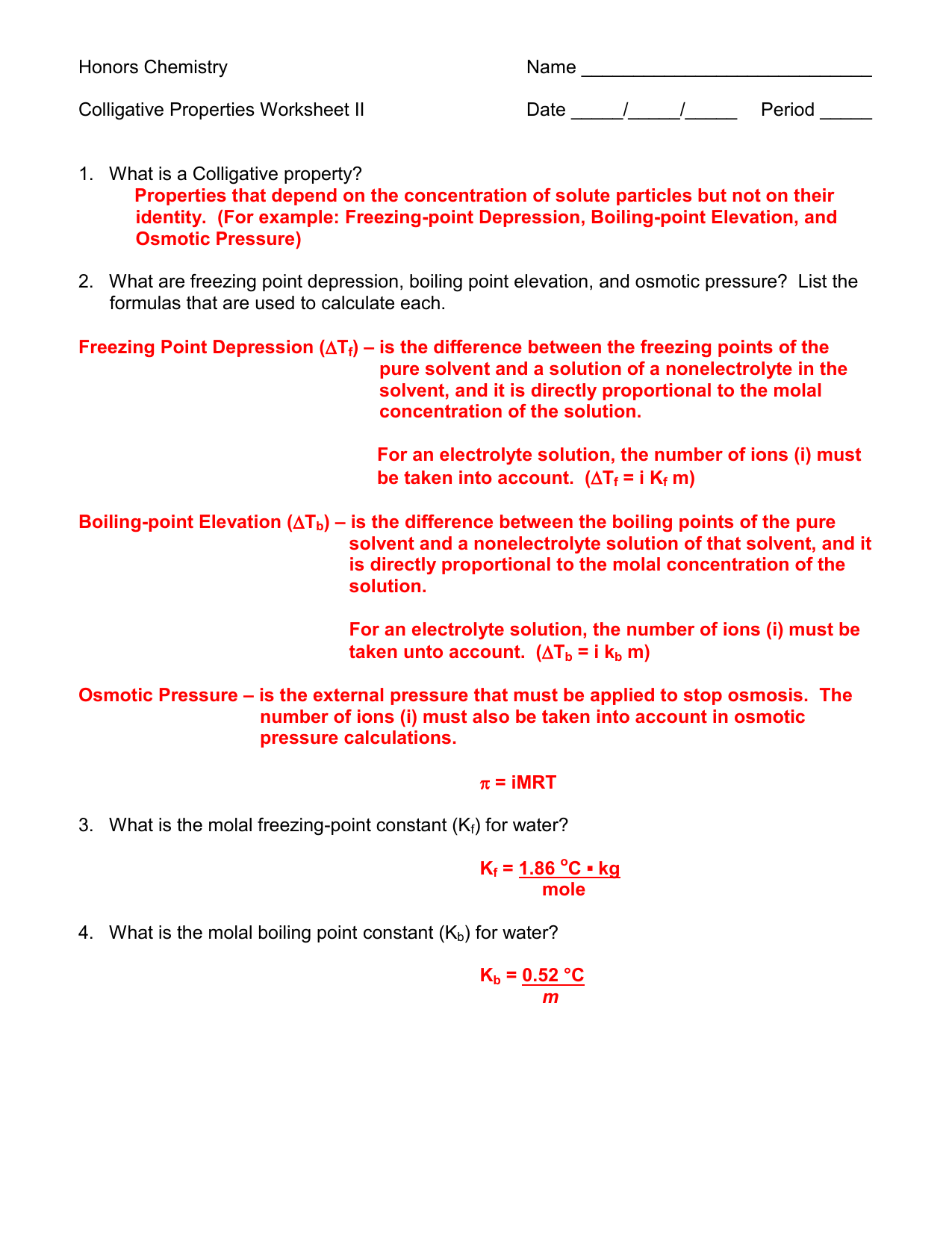 Colligative Properties Worksheet II Answer Key 11-12