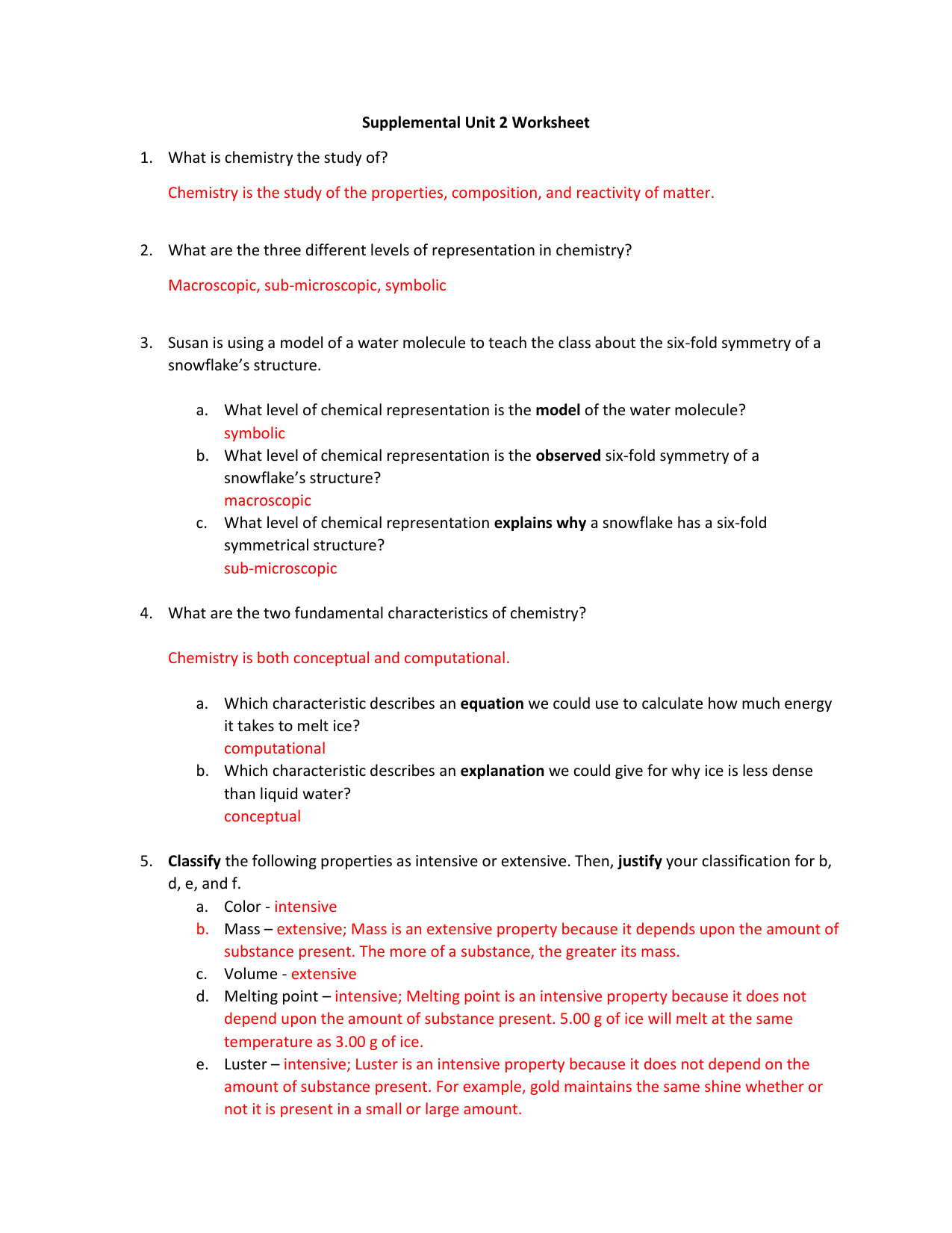 ANSWER KEY - Supplemental Unit 2 Worksheet