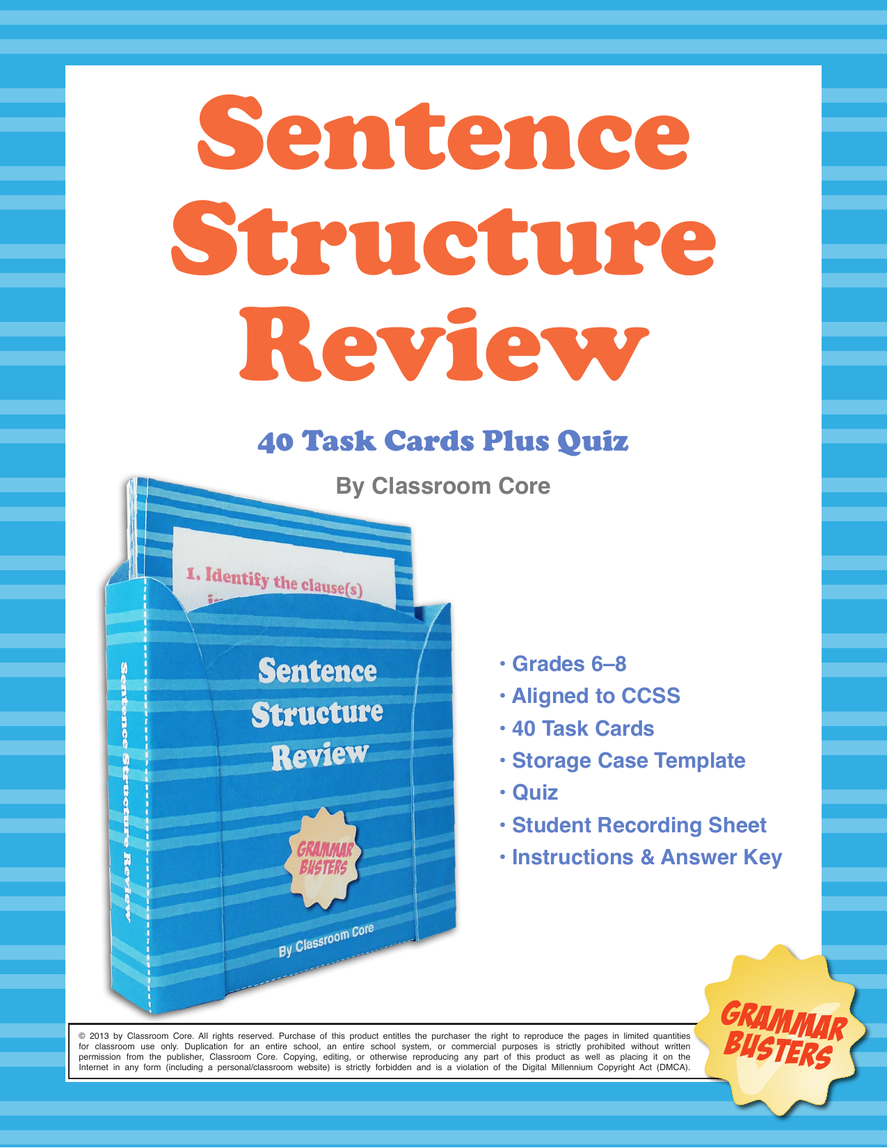 4 sentence structure review and quiz by classroom core