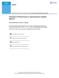 Hesitation Phenomena in Spontaneous English Speech