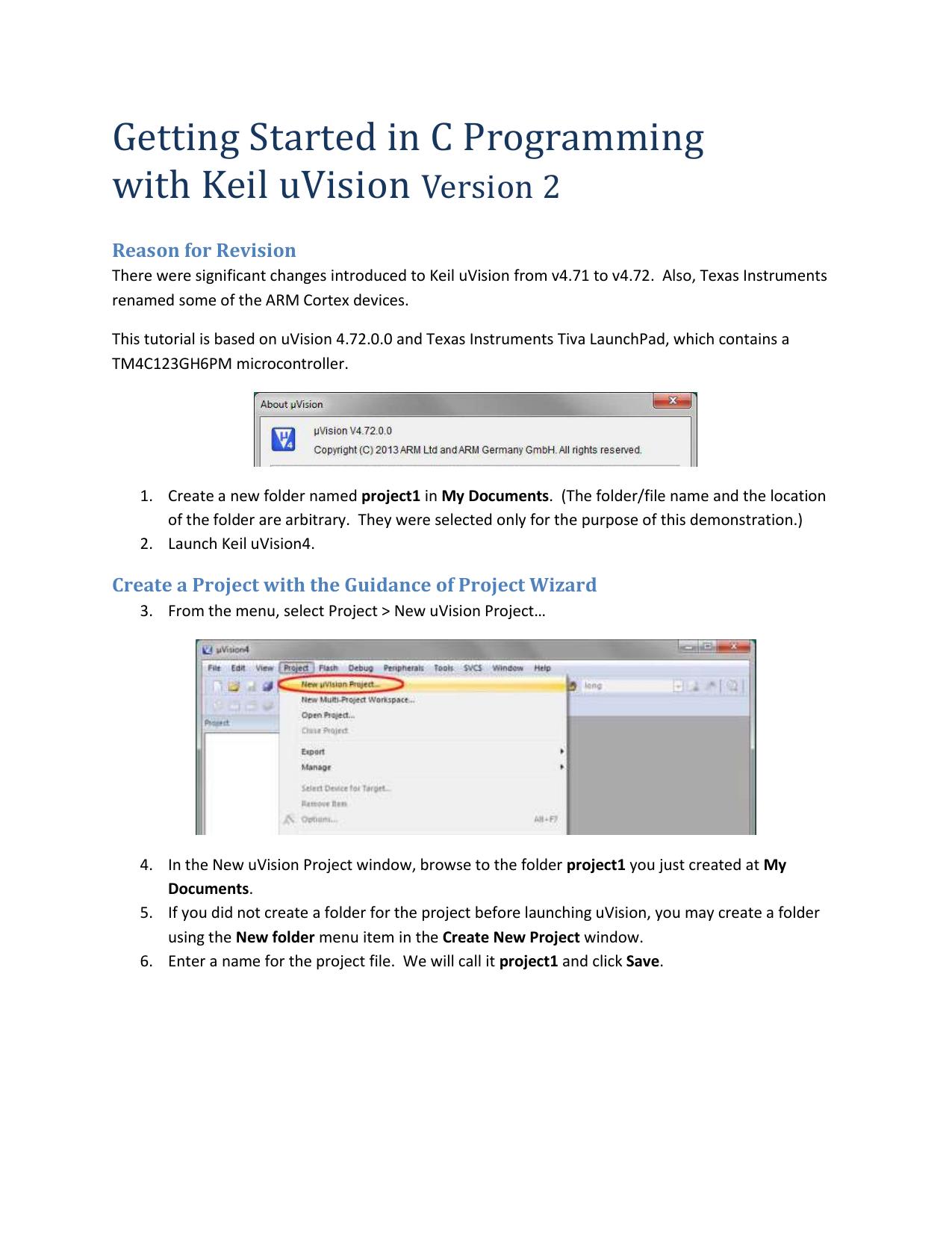 Keil C project tutorial v3
