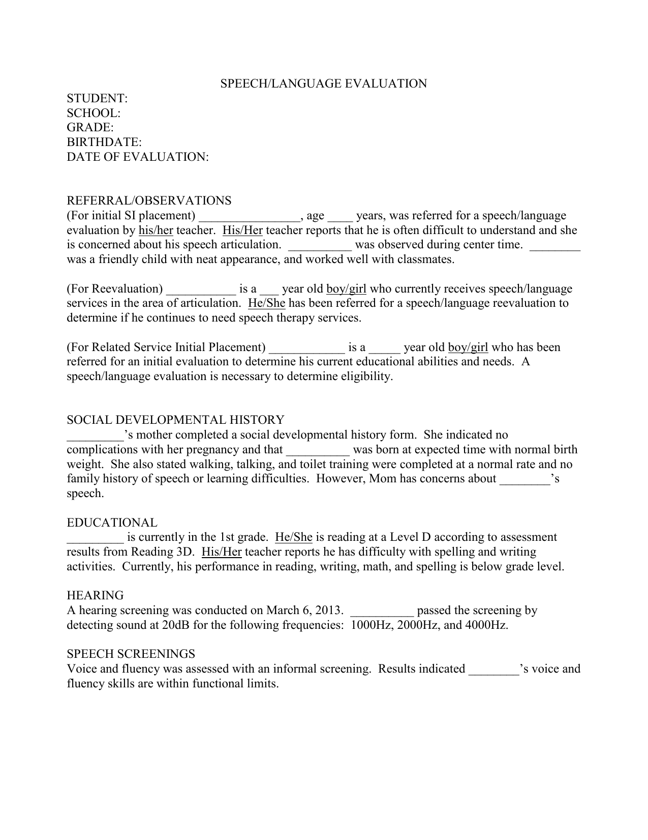 SPEECH-EVALUATION-REPORT-TEMPLATE-21 Pertaining To Speech And Language Report Template