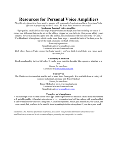 Resources for Personal Voice Amplifiers