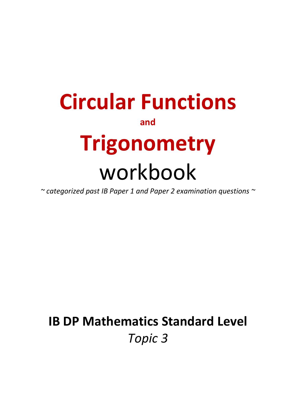 Topic 3 Trigonometry question bank questions