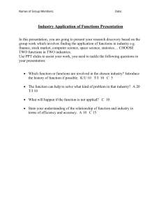 Application of Functions Presentation rubric