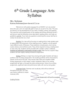 6th Grade Language Arts Syllabus