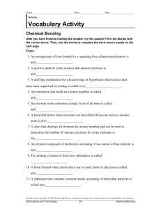 chemical bonding vocabulary activity