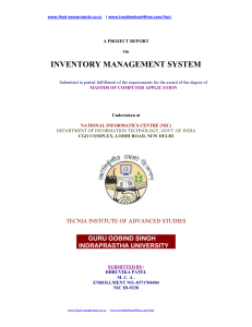 A PROJECT REPORT On INVENTORY MANAGEMENT