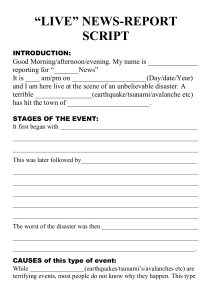 NATURAL DISASTER - Live newsreport script TEMPLATE