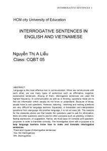 Interrogative sentences in english and vietnamese