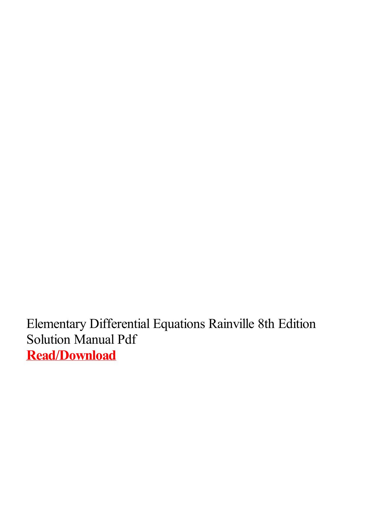 rainville solution manual ebook