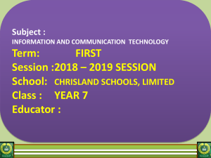 Year 7 ICT Upgraded 2018 - 2019 Academic Session
