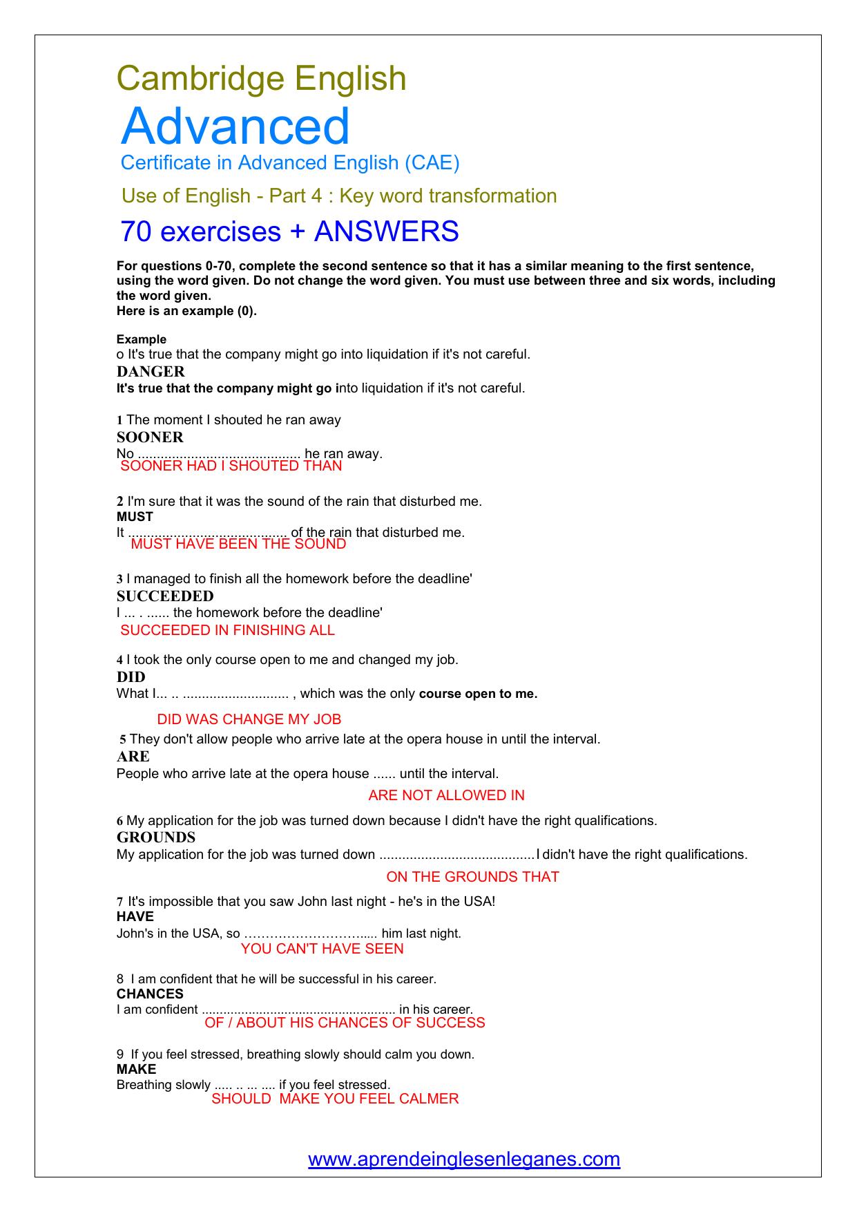 70 CAE KEY WORD TRANSFORMATIONS + ANSWERS