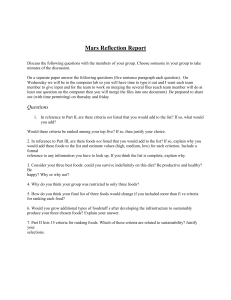 Mars Reflection Report