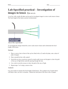 lab focal length of lens concave and convex M2 AS L13